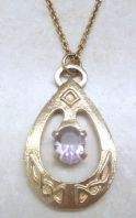 Celtic Style Faux Amethyst Pendant With Long Necklace Chain.